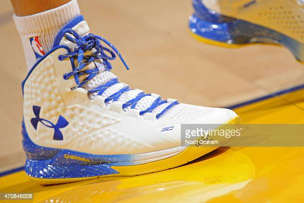 A close up shot of Stephen Curry of the Golden State Warriors shoes before Game Two of the Western Conference Quarterfinals against the New Orleans...