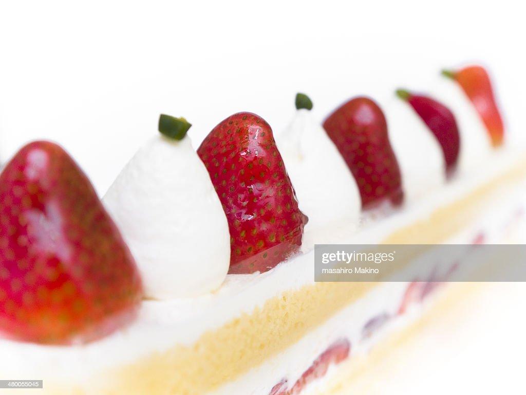 Close Up Shot of Strawberry Cake : Stock Photo