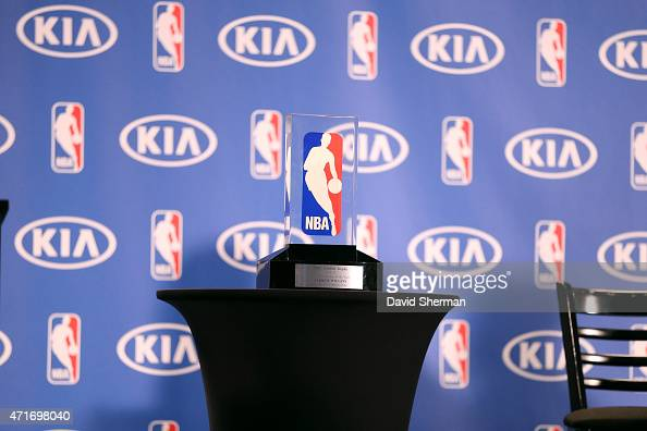 A close up shot of the 2014 2015 Kia NBA Rookie of the Year Award on April 30 2015 at Target Center in Minneapolis Minnesota NOTE TO USER User...