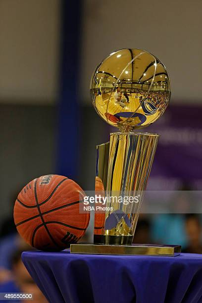 A close up shot of the Larry O'Brien Championship Trophy on September 18 2015 at Charlotte Christian High School in Charlotte North Carolina NOTE TO...