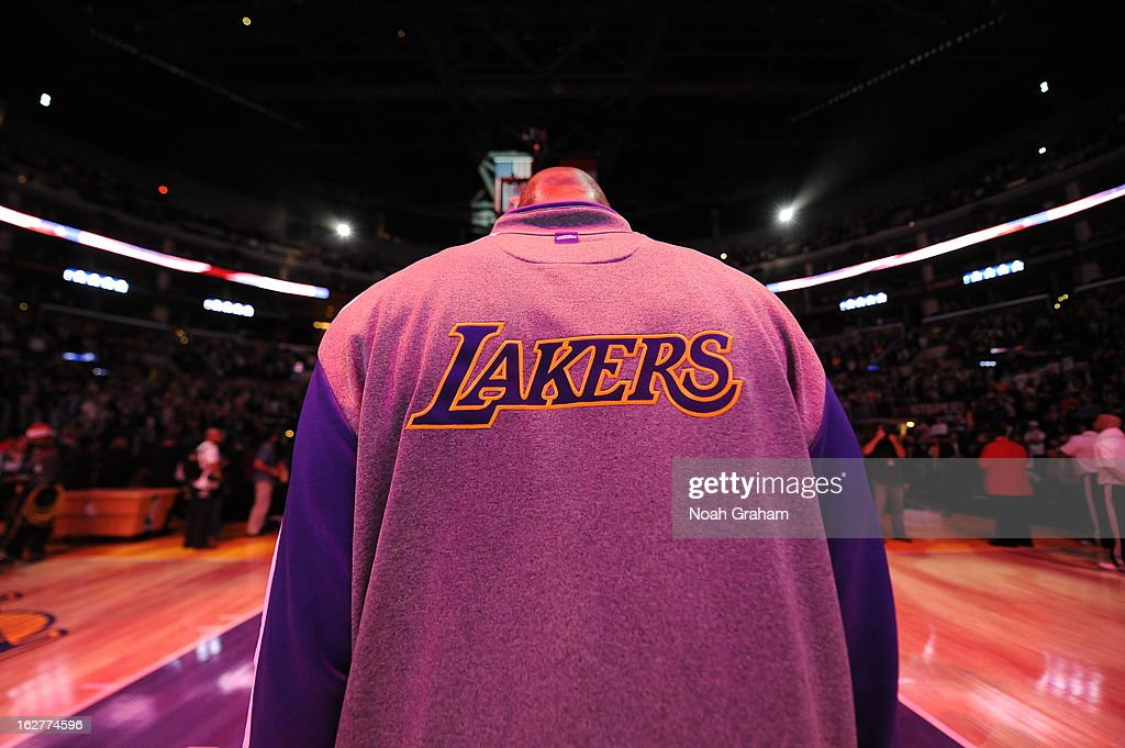 A close up shot of the Los Angeles Lakers warm up jacket before the game against the New York Knicks at Staples Center on December 25, 2012 in Los Angeles, California.