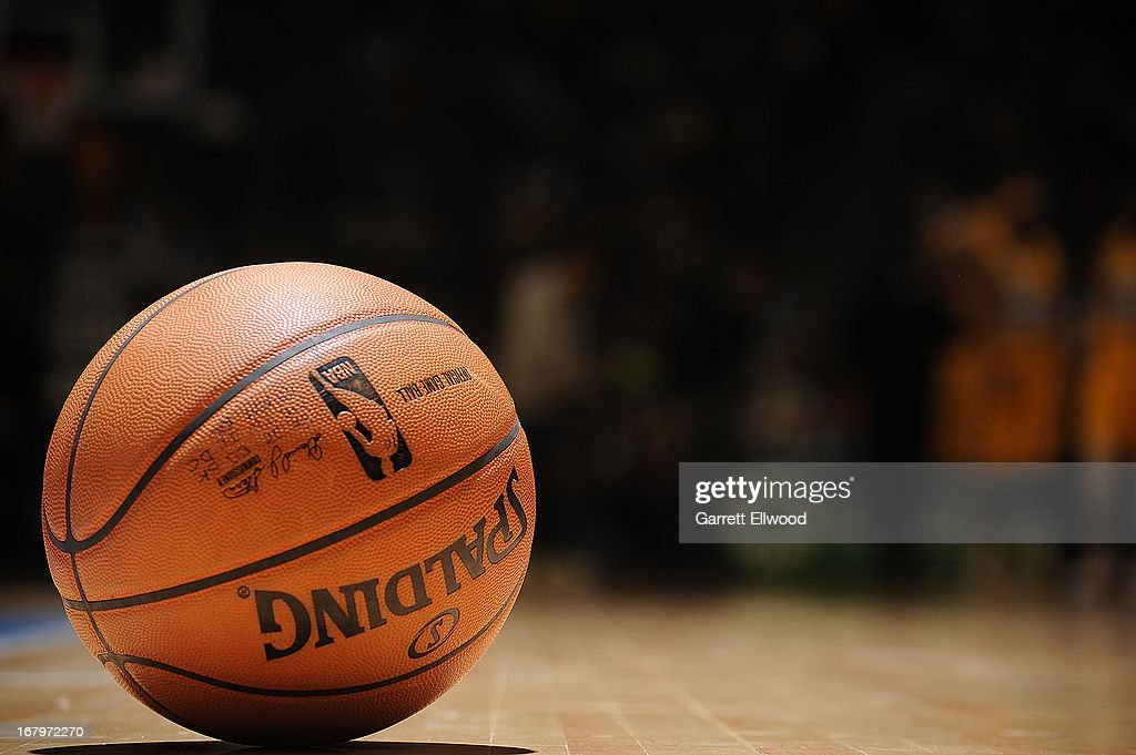 A close up shot of the NBA basketball during the Phoenix Suns game against the Denver Nuggets on April 17, 2013 at the Pepsi Center in Denver, Colorado.