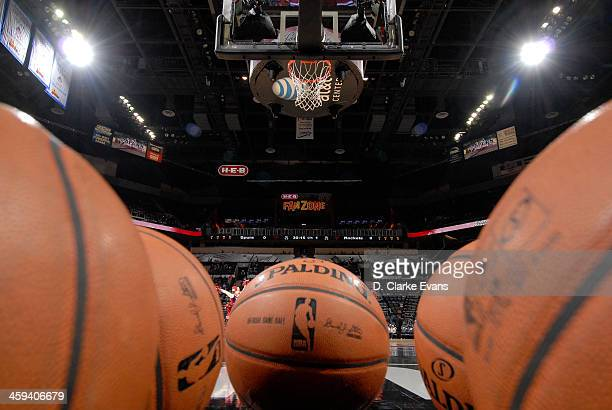 A close up shot of the NBA Spalding ball during the Houston Rockets game against the San Antonio Spurs during the game at the ATT Center on December...
