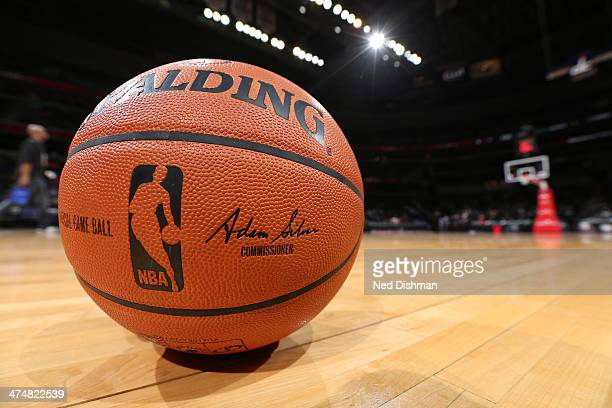 A close up shot of the new official Adam Silver NBA Spalding basketball before the Oklahoma City Thunder played against the Washington Wizards at the...