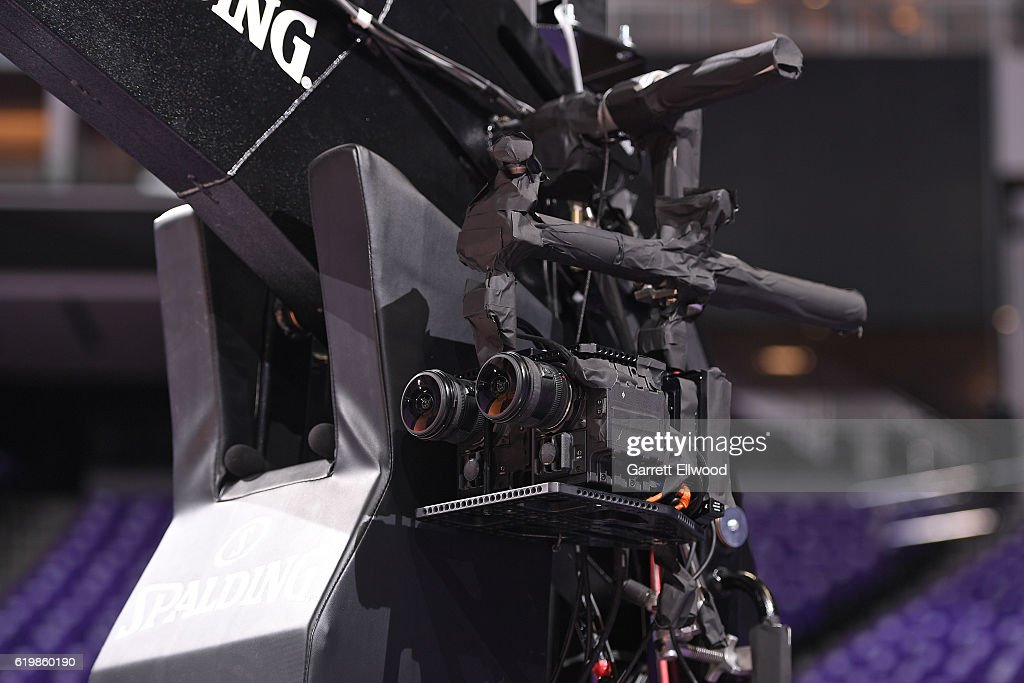 A close up shot of the NextVR Cameras before the San Antonio Spurs game against the Sacramento Kings on October 27, 2016 at the Golden 1 Center in Sacramento, California.