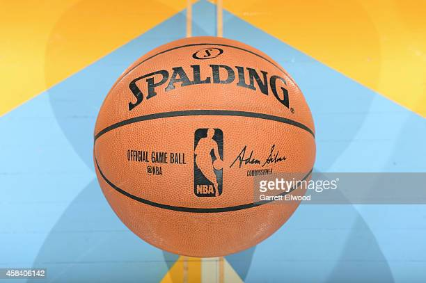 A close up shot of the official Adam Silver NBA Spaulding ball before a game between the Detroit Pistons and Denver Nuggets at the Pepsi Center on...