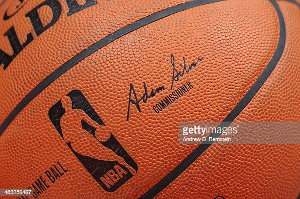 A close up shot of the official Adam Silver NBA Spaulding ball during the Los Angeles Lakers game against the Los Angeles Clippers at Staples Center...