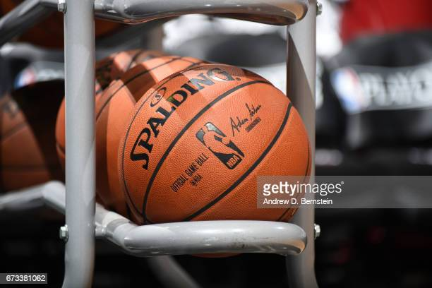 A close up shot of the Official NBA Spalding basketball before Game Five of the Western Conference Quarterfinals between the Utah Jazz and the LA...