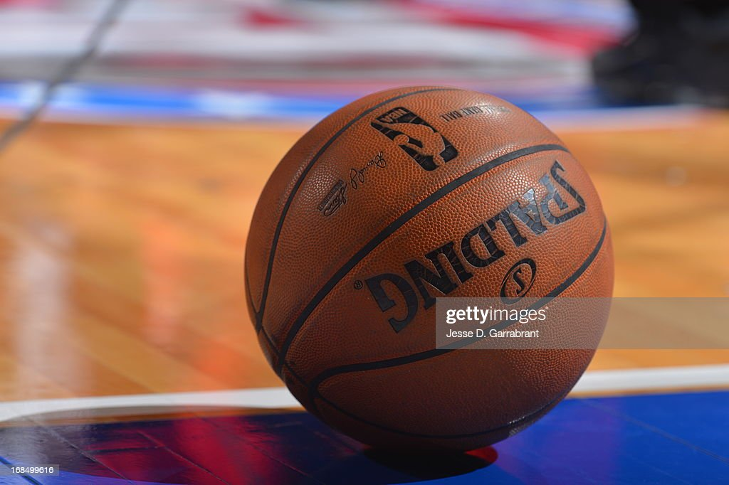 A close up shot of the official NBA Spalding basketball during the Atlanta Hawks game against the Philadelphia 76ers at the Wells Fargo Center on April 10, 2013 in Philadelphia, Pennsylvania.