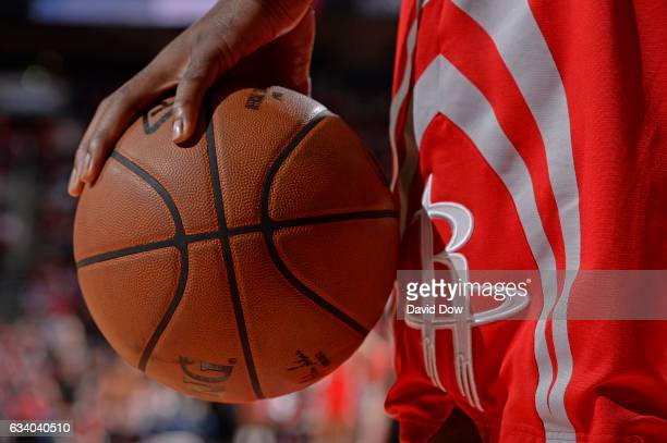 A close up shot of the Official NBA Spalding Basketball during the Chicago Bulls game against the Houston Rockets on February 3 2017 at the Toyota...