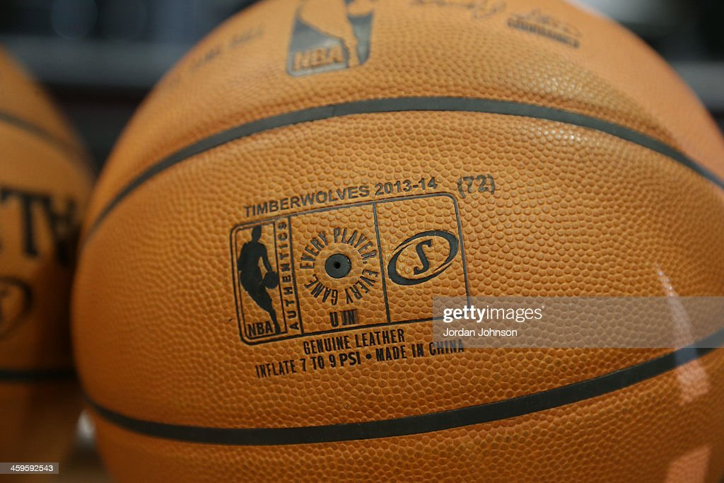 A close up shot of the Spalding ball before the Cleveland Cavaliers played against the Minnesota Timberwolves on November 13, 2013 at Target Center in Minneapolis, Minnesota.