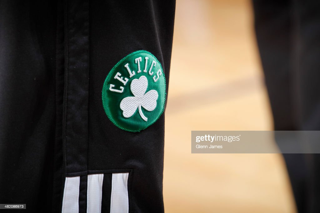A close up shot of the warmup pants patch of the Boston Celtics before the St. Patrick's Day game against the Dallas Mavericks on March 17, 2014 at the American Airlines Center in Dallas, Texas.