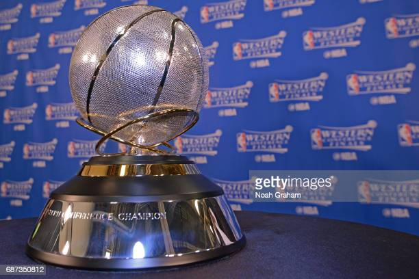 A close up shot of the Western Conference Championship Trophy after the Golden State Warriors beat the San Antonio Spurs in Game Four of the Western...