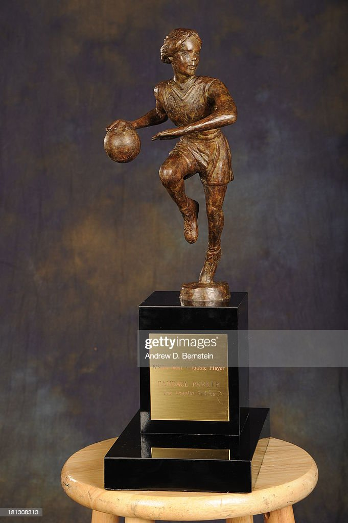 A close up shot of the WNBA's Most Valuable Player trophy for the 2013 season at STAPLES Center on September 19, 2013 in Los Angeles, California.