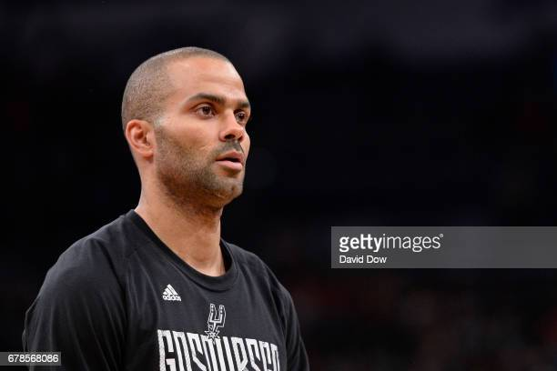 A close up shot of Tony Parker of the San Antonio Spurs before Game Two of the Eastern Conference Semifinals against the Houston Rockets during the...