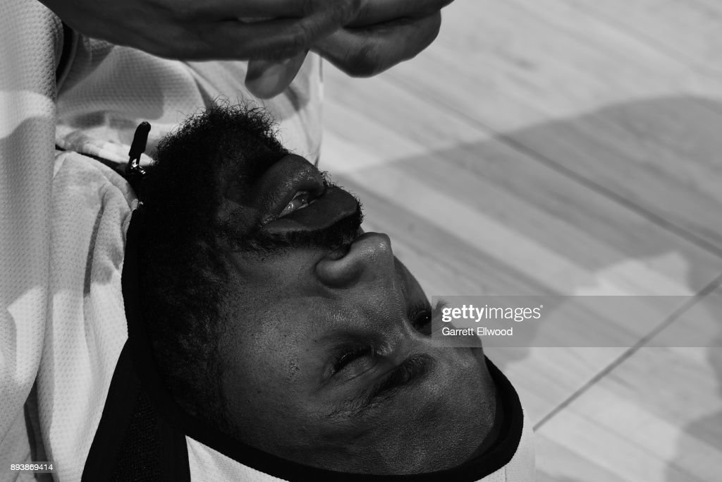 A close up shot of Will Barton #5 of the Denver Nuggets stretching before the game against the New Orleans Pelicans on December 15, 2017 at the Pepsi Center in Denver, Colorado.