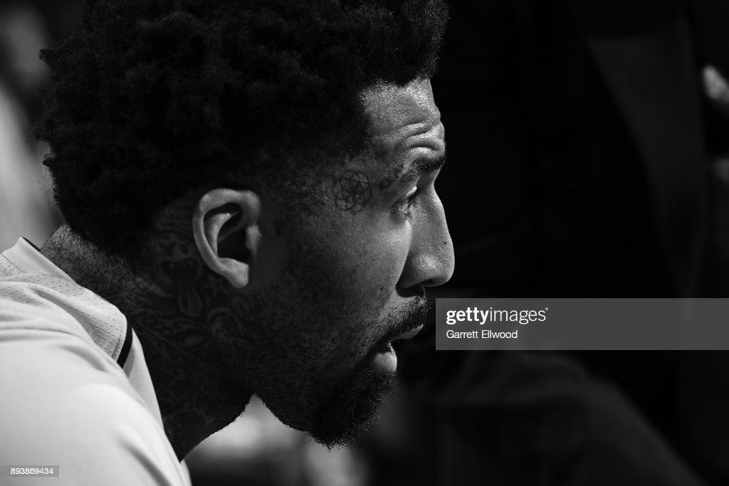 A close up shot of Wilson Chandler #21 of the Denver Nuggets before the game against the New Orleans Pelicans on December 15, 2017 at the Pepsi Center in Denver, Colorado.