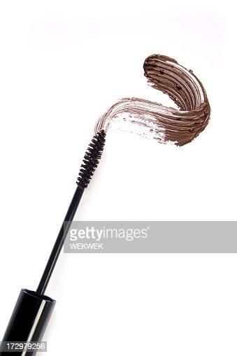 Close up smear of brown mascara