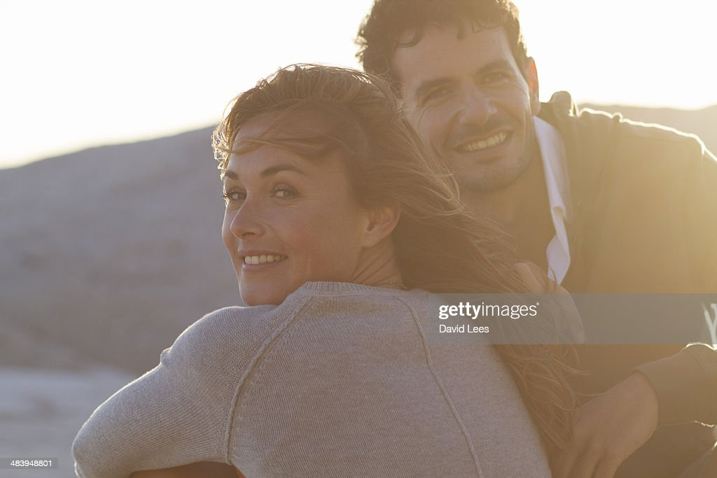 Close up  smiling couple on beach : Stock Photo