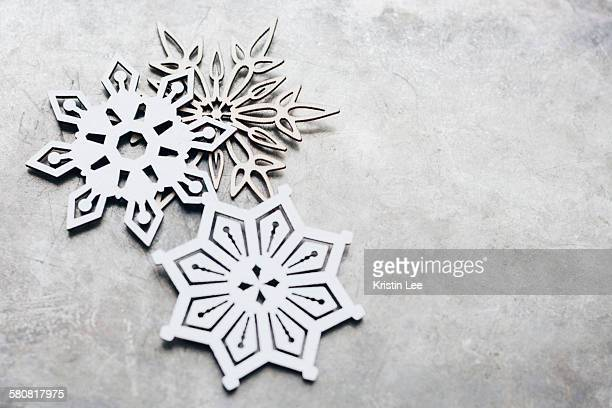 Close up snow flakes