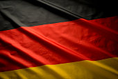 Close up studio shot of real German flag