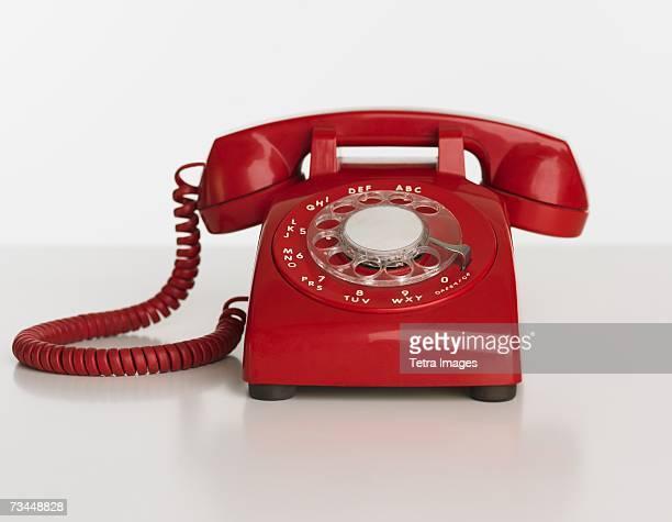Close up studio shot of rotary telephone
