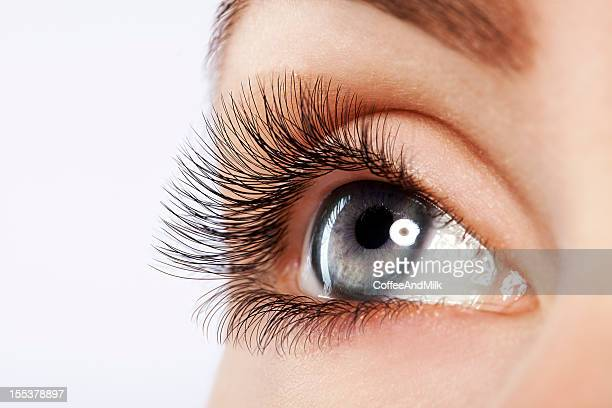 Close up studio shot of woman's eye