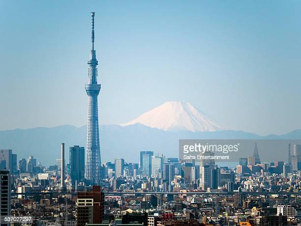 Close up Tokyo Sky tree and M't fuji