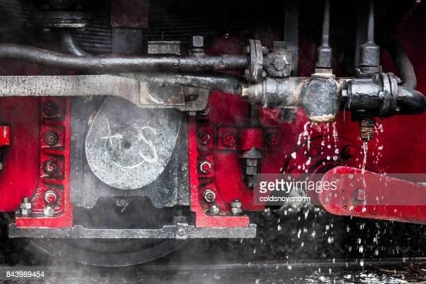 Close up underneath a steam train engine