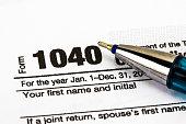 Close - up U.S. income tax form 1040.