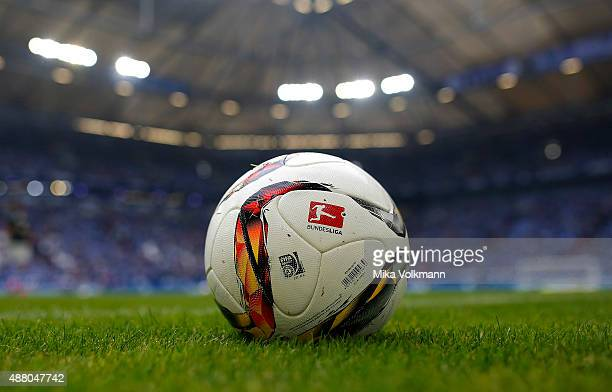 Close up view of a ball during the Bundesliga match between FC Schalke 04 and 1 FSV Mainz 05 at VeltinsArena on September 13 2015 in Gelsenkirchen...