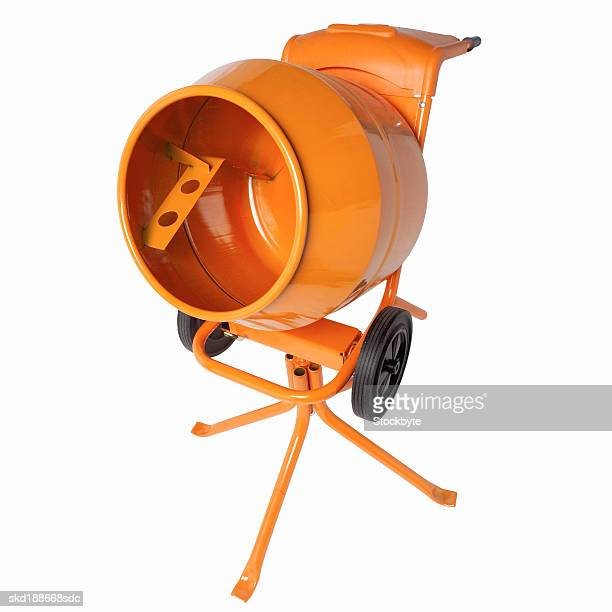 Close up view of a cement mixer