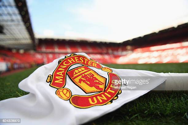 A close up view of a corner flag prior to the Premier League match between Manchester United and Arsenal at Old Trafford on November 19 2016 in...