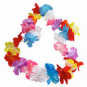 Close up view of a lei