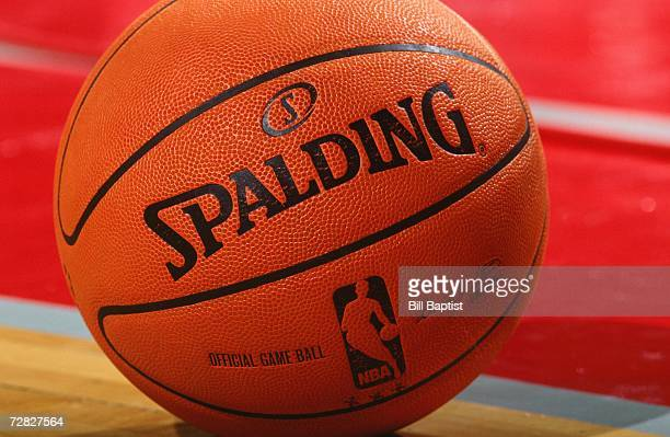 Close up view of a new Spalding microfiber composite 200607 Official NBA basketball during a game between the Houston Rockets and the Minnesota...