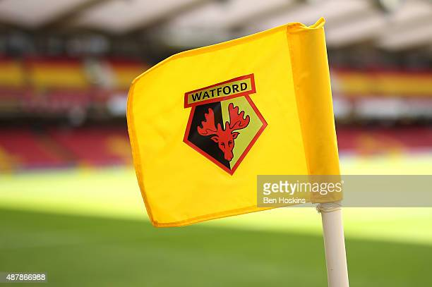 A close up view of a Watford corner flag prior to the Barclays Premier League match between Watford and Swansea City at Vicarage Road on September 12...