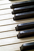 Close Up View of an Antique Piano Keyboard
