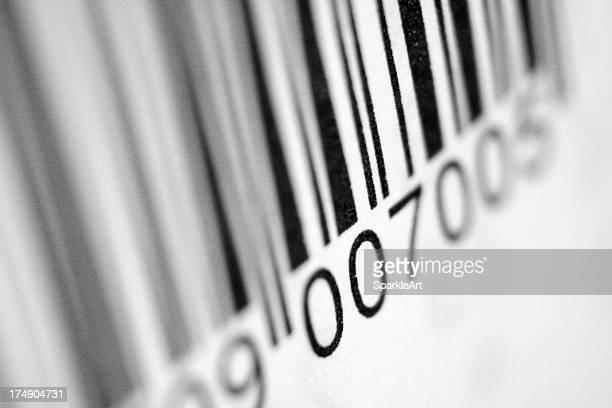Close up view of bar code with blurred sides
