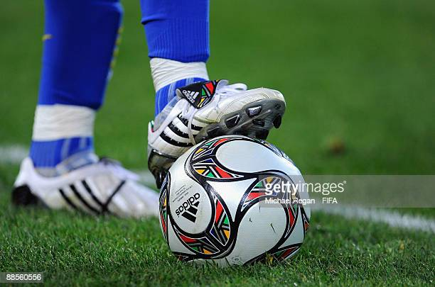 A close up view of Brazilian player Andre Santos' boots during the FIFA Confederations Cup Group B match between USA and Brazil at Loftus Versfeld...