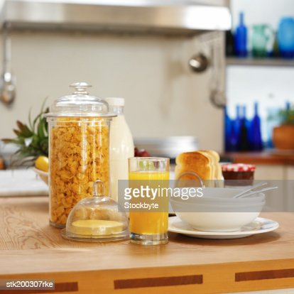 Kitchen Counter Close Up close up view of breakfast items on kitchen counter stock photo
