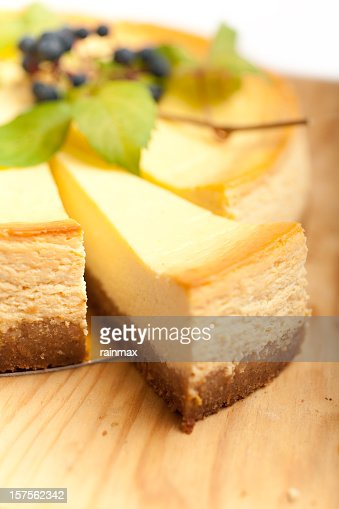 Close up view of cheese cake slice with blurred background