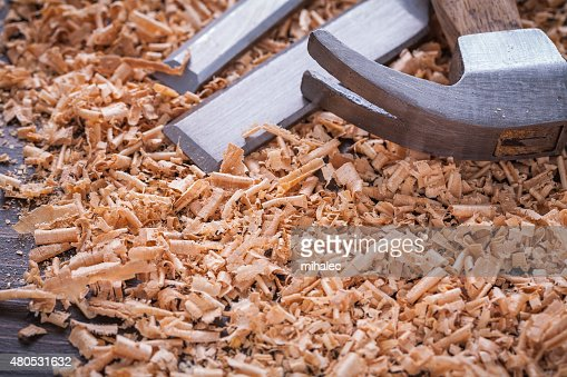 Close up view of claw hammer and metal chisels in : Stock Photo