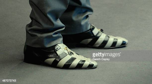 Close up view of Dominic Dale's shoes during his second round match against Michael Wasley in The Dafabet World Snooker Championship at Crucible...