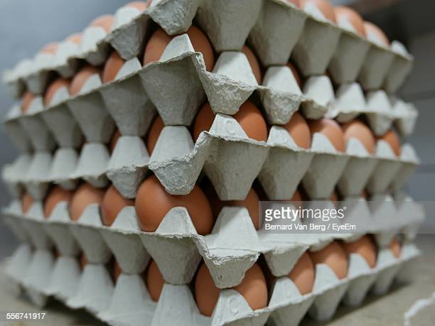 Close Up View Of Egg Cartons In Stack