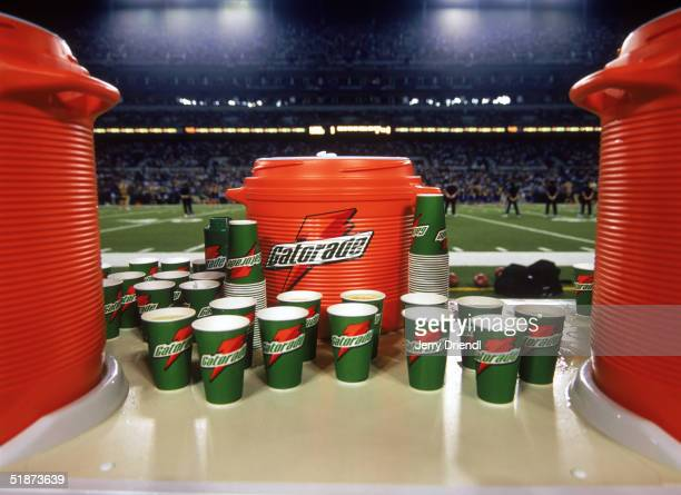 Close up view of Gatorade cups on a sideline table during a preseason game between the Baltimore Ravens and the Detroit Lions at MT Stadium on August...