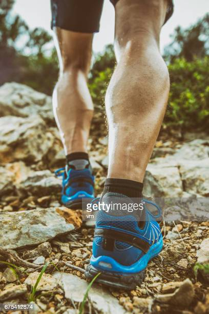 Close up view of hiker's legs