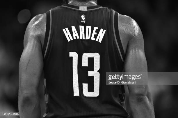 Close up view of James Harden of the Houston Rockets official NBA jersey during the game against the San Antonio Spurs during Game Five of the...