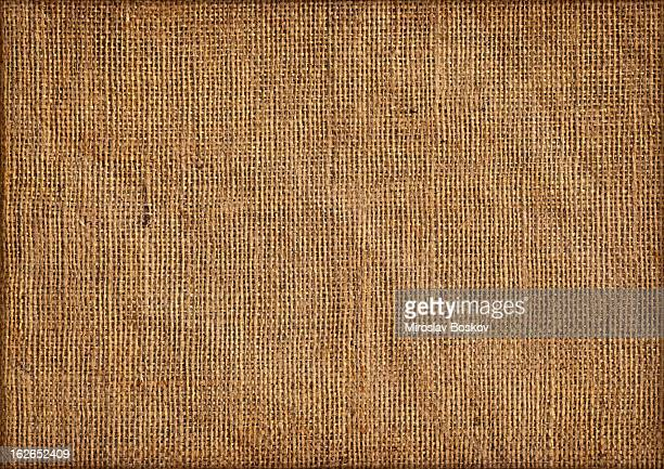 Close up view of jute canvas emphasizing the coarse grain