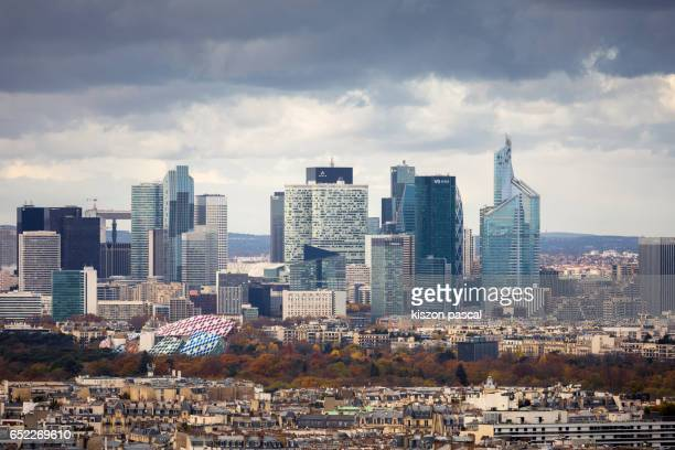 Close up view of La Defense district in Paris in day , France