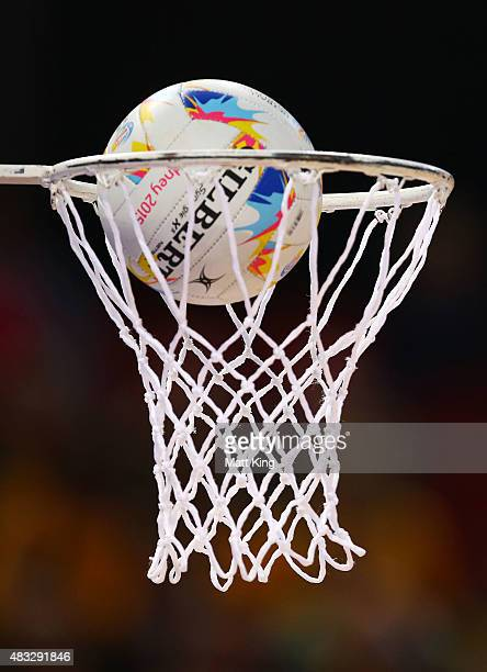 A close up view of the ball falling through the net during the 2015 Netball World Cup match between Australia and Trinidad Tobago at Allphones Arena...